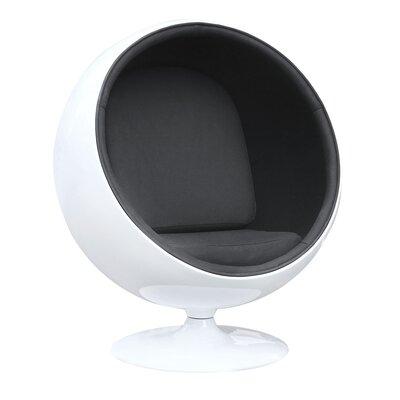 Schneider Globe Swivel Barrel Chair Upholstery: Black