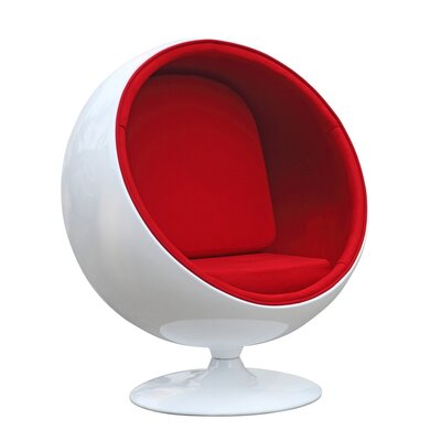 Schneider Globe Swivel Barrel Chair Upholstery: Red