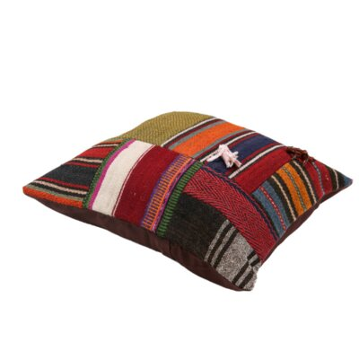 Pauling Anatolian Kilim Patchwork Indoor/Outdoor Wool Pillow Cover