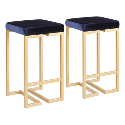 Lang 27 Bar Stool Upholstery: Blue