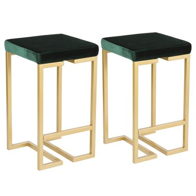Lang 27 Bar Stool Upholstery: Green