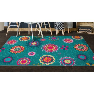 Clarksville Floral Blue Area Rug Rug Size: Rectangle 5 x 8