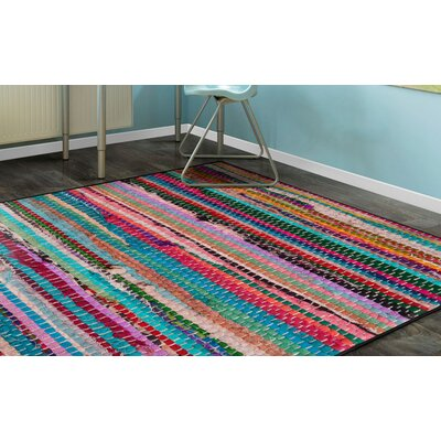 Perino Rag Red/Blue Area Rug Rug Size: Rectangle 76 x 10