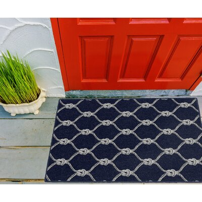 Elio Nautical Rope Trellis Navy Area Rug Rug Size: Rectangle 34 x 5