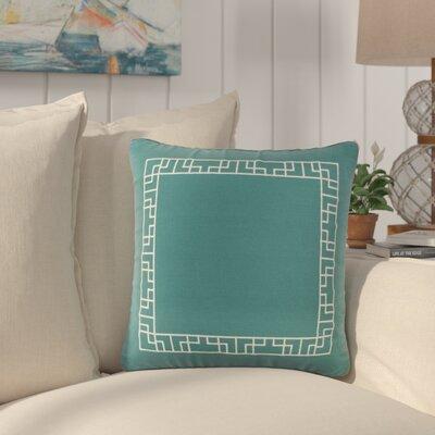Southlake Cotton Throw Pillow Color: Teal/ White
