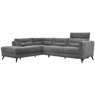 Reynal Power Modular Sectional Upholstery: Gray, Orientation: Left Hand Facing