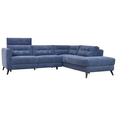 Reynal Power Modular Sectional Upholstery: Navy, Orientation: Right Hand Facing