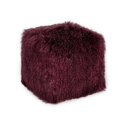 Malek Fur Pouf Upholstery: Purple