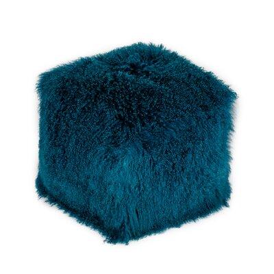Malek Fur Pouf Upholstery: Blue