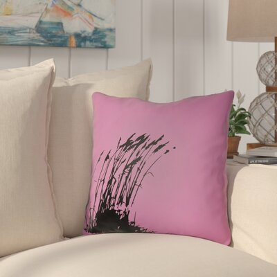 Cournoyer Indoor/Outdoor Throw Pillow Size: 16 H x 16 W, Color: Fuchsia/Onyx Black