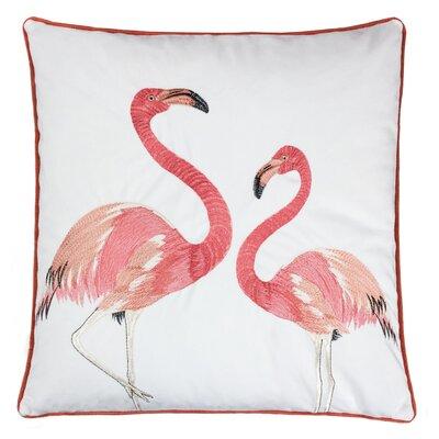 Bogazi Embroidery Flamingo Velvet Throw Pillow