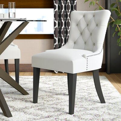 Carlton Wood Leg Upholstered Dining Chair Color: White