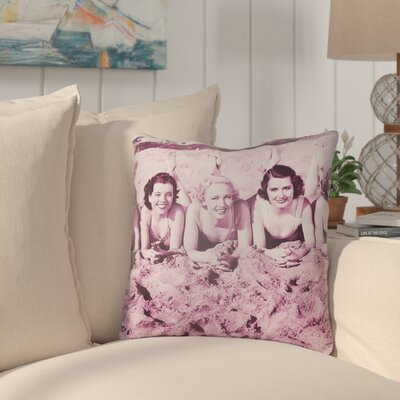 Courter Sandy Indoor/Outdoor Throw Pillow Size: 18 H x 18 W, Color: Magenta