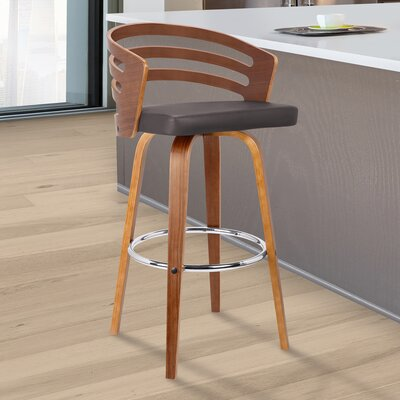 Wilkes Swivel Bar Stool Color: Brown, Size: 39 H x 19 W x 19 D