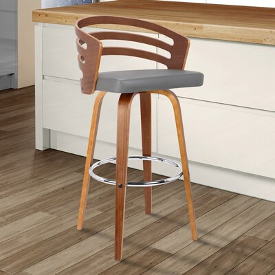 Wilkes Swivel Bar Stool Color: Gray, Size: 39 H x 19 W x 19 D