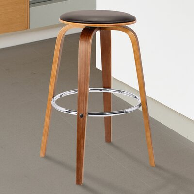 Zeno Swivel Bar Stool Color: Brown, Size: 29 H x 17 W x 17 D