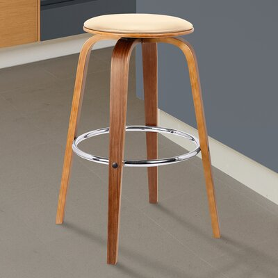 Zeno Swivel Bar Stool Color: Cream, Size: 25 H x 17 W x 17 D