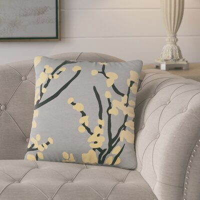 Kerwin Cotton Throw Pillow Color: Gray/ Yellow/ Black