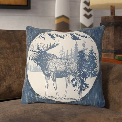 Pittard Moose Indoor/Outdoor Throw Pillow Size: 16 H x 16 W, Color: Navy Blue/Beige