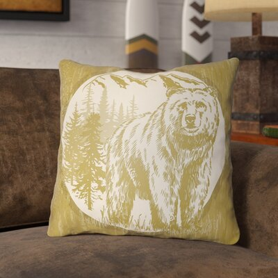 Pitre Bear Throw Pillow Size: 16 H x 16 W, Color: Mustard/Beige