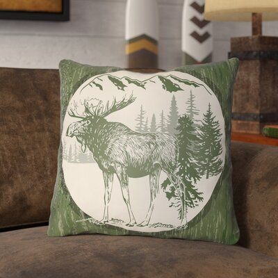 Pittard Moose Indoor/Outdoor Throw Pillow Size: 26 H x 26 W, Color: Forest Green/Beige