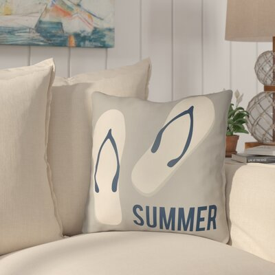 Courtois Summer Indoor/Outdoor Throw Pillow Size: 18 H x 18 W, Color: Gray/Ivory