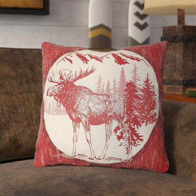 Pittard Moose Indoor/Outdoor Throw Pillow Size: 16 H x 16 W, Color: Crimson Red/Beige