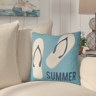 Courtois Summer Indoor/Outdoor Throw Pillow Size: 22 H x 22 W, Color: Aqua/Navy Blue