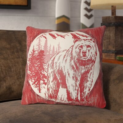 Pitre Bear Throw Pillow Size: 18 H x 18 W, Color: Crimson Red/Beige