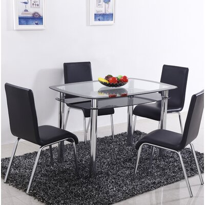 Scalise 5 Piece Dining Set Color: Black