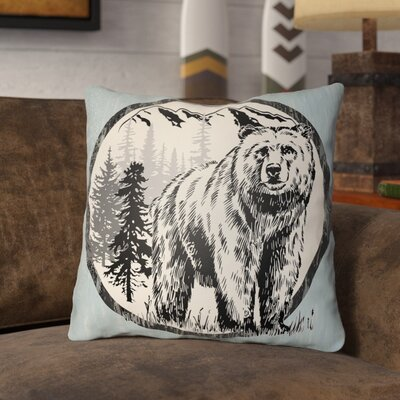 Pitre Bear Throw Pillow Size: 26 H x 26 W, Color: Light Blue/Beige
