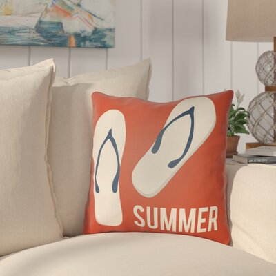 Courtois Summer Indoor/Outdoor Throw Pillow Size: 18 H x 18 W, Color: Poppy Red/Ivory