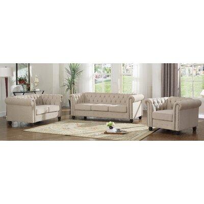Howington 3 Piece Living Room Set Upholstery: Beige