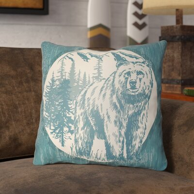 Pitre Bear Throw Pillow Size: 22 H x 22 W, Color: Teal/Beige
