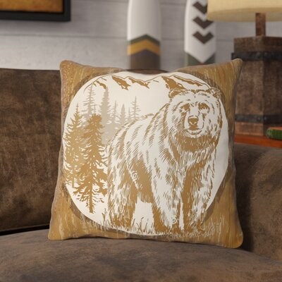 Pitre Bear Throw Pillow Size: 18 H x 18 W, Color: Tan/Beige