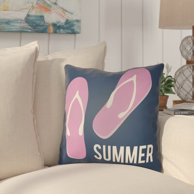 Courtois Summer Indoor/Outdoor Throw Pillow Size: 18 H x 18 W, Color: Navy Blue/Fuchsia
