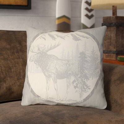 Pittard Moose Indoor/Outdoor Throw Pillow Size: 22 H x 22 W, Color: Light Gray/Beige