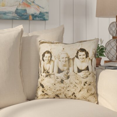 Courter Sandy Indoor/Outdoor Throw Pillow Size: 18 H x 18 W, Color: Sepia