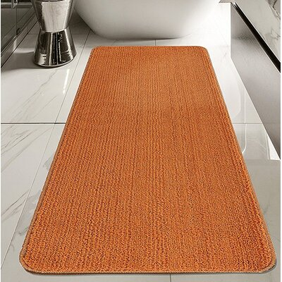 Fagaras Solid Non-Slip Kitchen and Bath Orange Area Rug