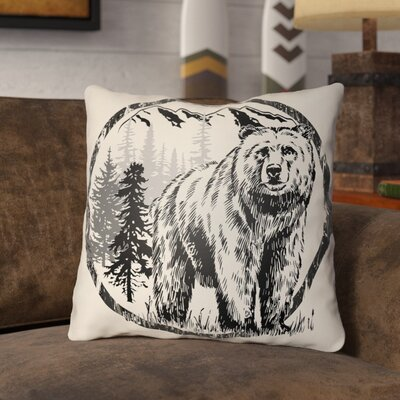 Pitre Bear Throw Pillow Size: 16 H x 16 W, Color: Onyx Black/Beige
