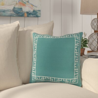 Southlake Cotton Throw Pillow Color: Teal/ White