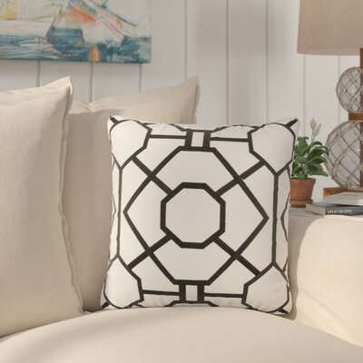 Southlake Cotton Throw Pillow Color: White/ Black