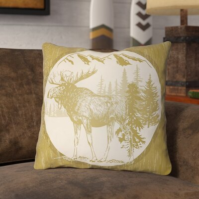 Pittard Moose Indoor/Outdoor Throw Pillow Size: 16 H x 16 W, Color: Mustard/Beige