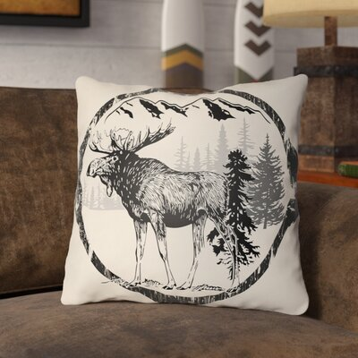 Pittard Moose Indoor/Outdoor Throw Pillow Size: 16 H x 16 W, Color: Onyx Black/Beige