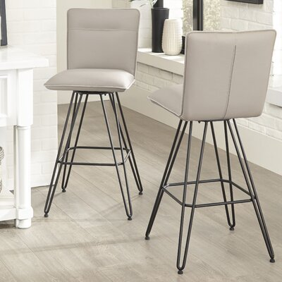 Greaney 30 Swivel Bar Stool (Set of 2) Upholstery: Taupe