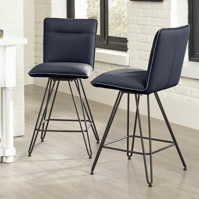 Greaney 24 Swivel Bar Stool (Set of 2) Upholstery: Cobalt