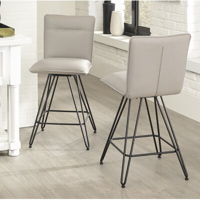 Greaney 24 Swivel Bar Stool (Set of 2) Upholstery: Taupe