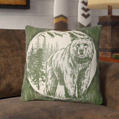 Pitre Bear Throw Pillow Size: 26 H x 26 W, Color: Forest Green/Beige