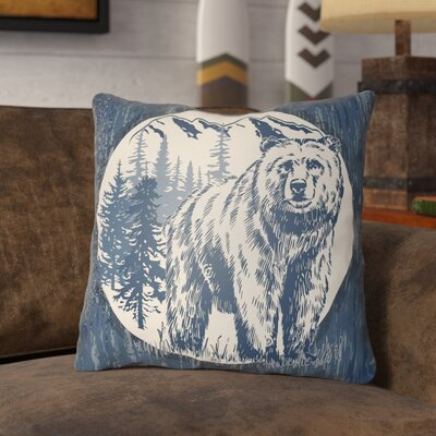 Pitre Bear Throw Pillow Size: 18 H x 18 W, Color: Navy Blue/Beige