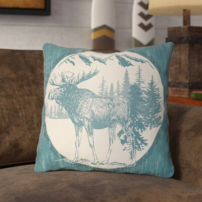 Pittard Moose Indoor/Outdoor Throw Pillow Size: 18 H x 18 W, Color: Teal/Beige